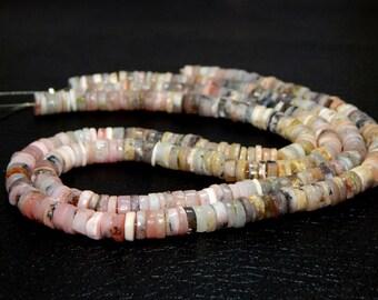 Pink Peruvian Opal Heishi Beads 100% Natural Gemstone Tyre Shape - Size 7.6x7.2 mm Approx Code - 0309