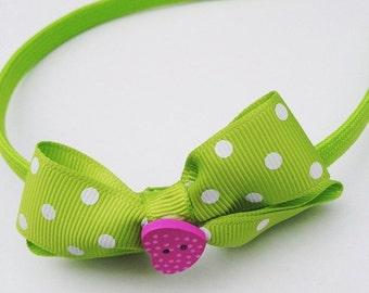 Polka dot green hairband