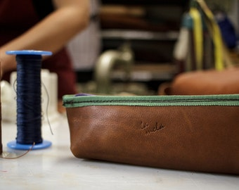hand made leather Pencil Case. Italian first quality leather