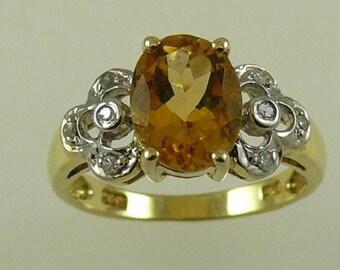 Citrine 1.75ct Ring 14k Yellow Gold and Diamonds 0.08ct