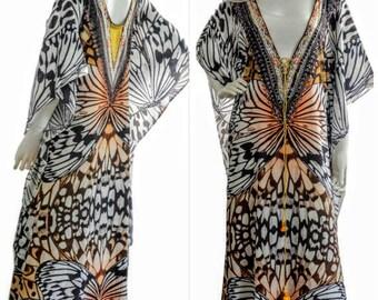 B/W butterfly kaftan dress, kaftan, caftan, maxi dress, beach dress, kaftan maxi dress