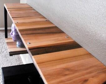 multi tier shelving, metal frame wood tops