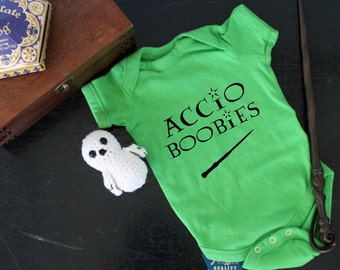Harry Potter Accio Boobies Onesie. Halloween. Costume. Funny. Breastfeeding. Wizard. Witch. Hogwarts. Spells. Birthday Present. Baby Shower.