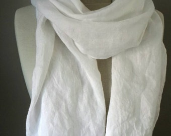White Linen scarf - 100 % Linen scarf - Soft flax scarf - Woman Summer scarf - Organic flax wrap - Pure linen wrap - Gift for Her