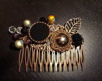 Comb black and gold ~ gold and black hair comb
