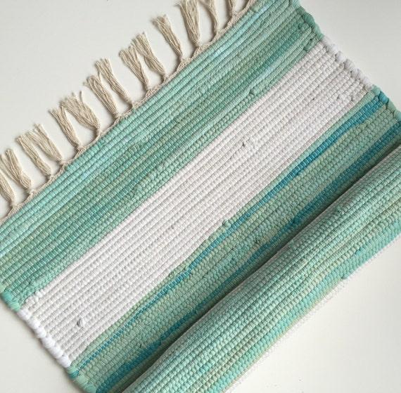 Gypsy Stripe Turquoise Grey Woven Cotton Rug: Chindi Rag Rug. Handmade Textile Woven Rug Turquoise & White