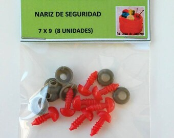 7 x 9 mm red nose of security (8 units) - network Safety nose 7 x 9 mm (8 units)