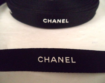"Chanel ribbon by the yard black with white logo 1/2"" wide gift wrapping or hair or crafts"