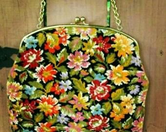 GARAY convertible floral carpet bag handbag/purse-carpet bag clutch-floral/tapestry clutch/handbag-mod/boho/retro free shipping special!