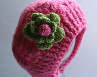 Baby crochet hat, children's crochet hat, pink crochet hat, knitted baby hat, crochet hat with  flower,