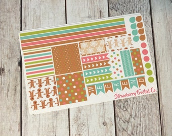 Gingerbread Man Themed Planner Stickers- Made to fit Horizontal Layout