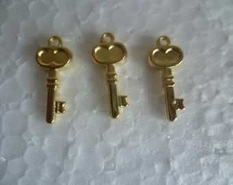 50 pcs, Pendant Gold Plated Key Charms,