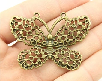 2 Butterfly Charms, Antique Bronze Tone (1G-122)