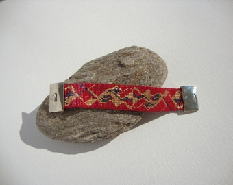 Bracelet cuff boho chic, red, black, gold