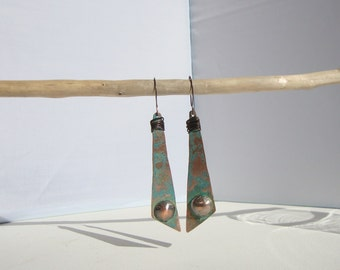 earrings, Bohemians turquoise Patina copper