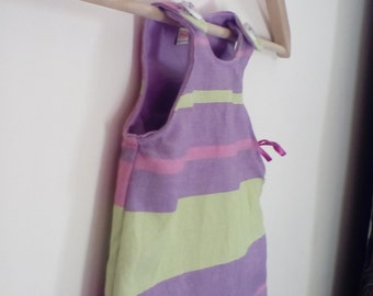 0-3 Months *UK Seller* - Little Frog Wrap Scrap Dress in Pink, Lilac and green