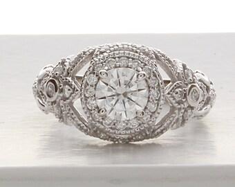 Deco Engagement Ring,Edwardian Engagement Ring,Vintage Engagement Ring in 14k White Gold, Unique Engagement Ring, Victorian Engagement Ring