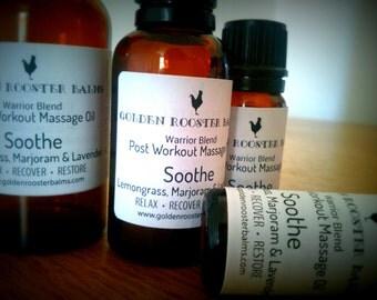 Soothe   Warrior Blend   Sports Massage Oil   Arnica+Calendula+St John's Wort infused oil   Lemongrass+Lavender+ Marjoran essential oils
