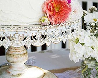 """Shabby chic 16"""" white metal cake stand/Pedestal 16"""" metal cake stand"""