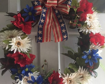 Patriotic Wreath - memorial day wreath - 4th of july wreath - red white and blue wreath - grapevine wreath - summer wreath