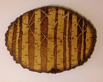 Birch or Aspen Tree Wood Burn, Pyrography