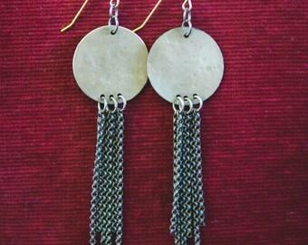Brass fringe circle earrings