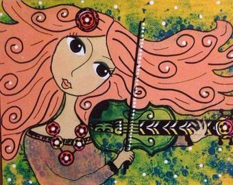 "Mixed Media 8x10 Print ""Coral"" Folk Art"