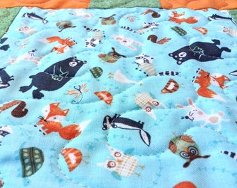 Baby Blanket, Baby Quilt, Wild Animal, Handmade Quilt, Quilt For Sale, Bear Quilt, Blue and Orange, Blanket, Green and Orange, Quilt