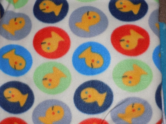 Dog Jammies Goldfish in colored Circles fleece