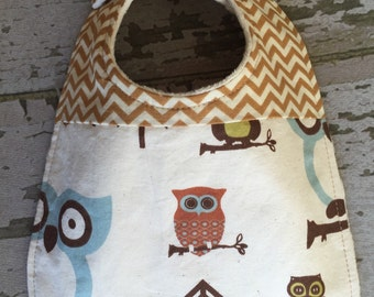 Baby boy bib/blue and brown owl with chevron