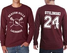 Beacon Hills Lacrosse WL Stilinski 24 Stiles Stilinski Dylan o'brien on Longsleeve MEN tee Maroon color