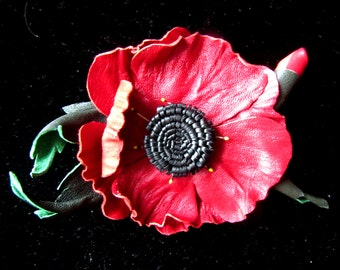 Brooch made of leather, red poppy brooch made of leather, red poppy Brooch handmade