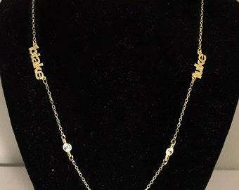 3 Name Mini  Necklace w/ Cz Bezals - Block Font