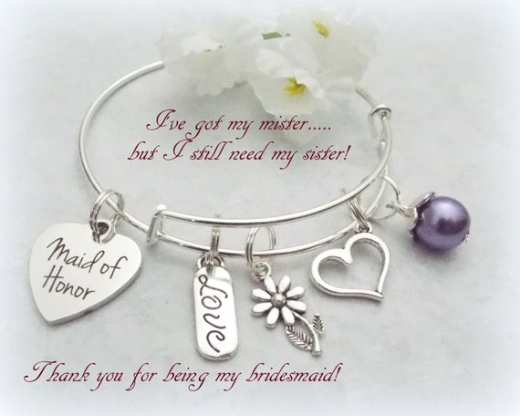 Gift Ideas For Bride On Wedding Day From Maid Of Honor : Bride Gifts Maid of Honor Gift Maid of Honor Bracelet Gift