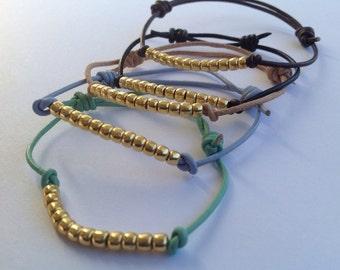 Goldie Leather Bracelets, Set of 2, Sliding Knot Bracelets, Beaded Cord Bracelets, Adjustable Bracelets