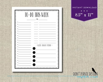 Fun Black Printable Weekly Planner Page - Daily Planner Sheet - Grocery List Planner
