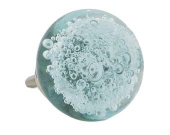 Light Blue Glass Bubbles Dresser Knob, Cabinet or Drawer Knob - G7L