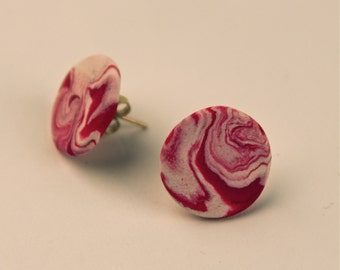 Pink Marbled Stud Earrings