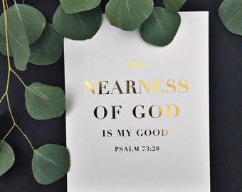 SALE: Nearness of God, 8x10 Art Print in Gold Foil and White