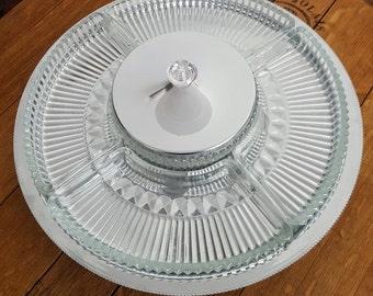 "Vintage lazy susan relish serving tray - Mid century Kromex chrome and pressed glass - Retro buffert serving tray/platter 14"" diameter"
