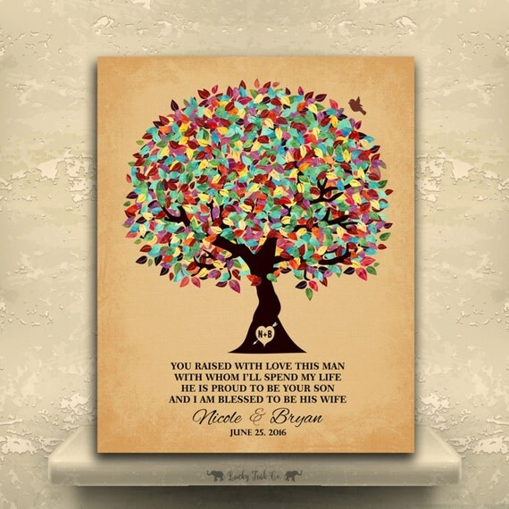 Wedding Gift Tree Poem : Groom Gift From Bride You Raised With Love Colorful Tree Wedding Poem ...