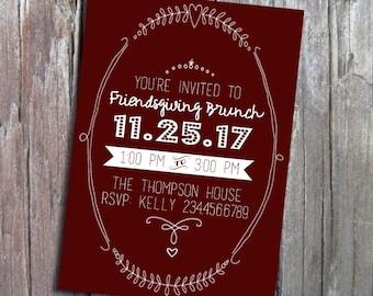 Friendsgiving Printable Invitation Modern Minimalist 5x7 Brunch Dinner Party Birthday Custom Color Invite