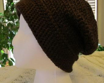 Crochet Hat, Brown Slouchy