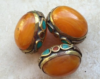 50% OFF!!! Tibetan Yellow Amber and Brass Bead