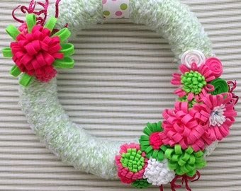 Spring Flower Wreath, Spring Wreath, Yarn Wreath, Pink Flower Wreath, Green Flower Wreath, Pink And Green Flower Wreath, Summer Wreath
