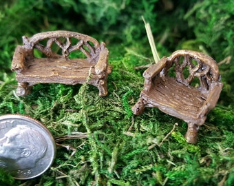 Miniature Teeny Tiny Twig Bench and Chair (Set of 2)