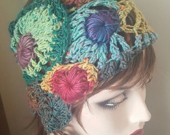 Headband of circles that look like a they're floating.  Goes with spring through winter outfits.