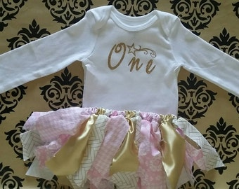 "Twinkle Twinkle little ""One"", 1st birthday tutu set, Birthday onesie set, custom first birthday outfit, little star birthday set"