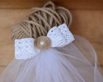 Party Veil Bachelorette Veil Bridal Party Lace Burlap Veil Bride to be Rustic Wedding Bridal Gift Veil Sash