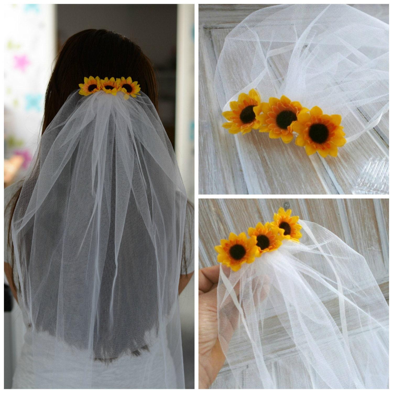 Bachelorette Veil Bridal Shower Veil Sunflower Party Accessory